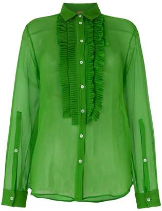 No.21 sheer pleated front shirt