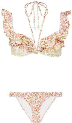 Zimmermann 'Goldie' halter tie ruffle trim floral print bikini top
