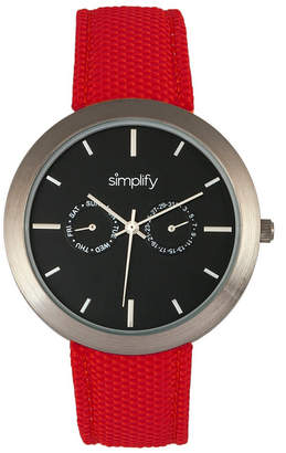 Simplify Quartz The 6100 Black Dial, Canvas-Overlaid Polyurethane Red Strap Watch 43mm