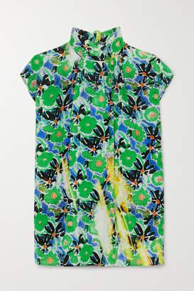 Prada Floral-print Silk Crepe De Chine Top - Green