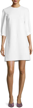 Tibi Crewneck Lace-Up Back A-Line Crepe Dress