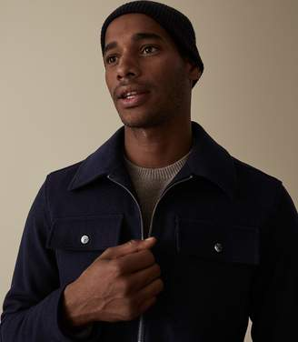 Reiss Our last order date for Christmas has now passed WATSON WOOL BLEND BLOUSON JACKET Navy