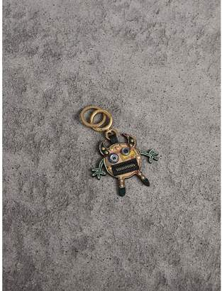 Burberry Creature Motif Leather Trim Key Ring