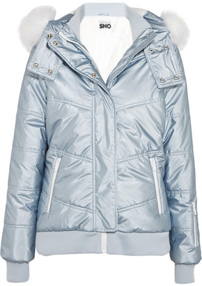 Topshop Sno - Queen B Faux Fur-trimmed Quilted Ski Jacket - Sky blue