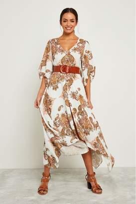 F&F Womens Ivory Paisley Print Maxi Dress - Cream
