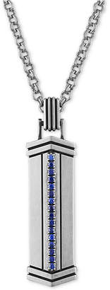 """Esquire Men Jewelry 22"""" Sapphire Pendant Necklace (1/3 ct. t.w.) in Sterling Silver"""