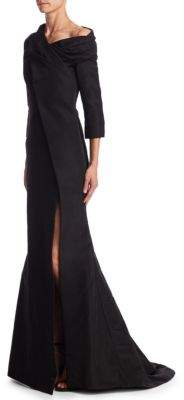 Oscar de la Renta Draped Silk Gown