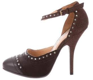 Lanvin Embellished Ankle Strap Pumps