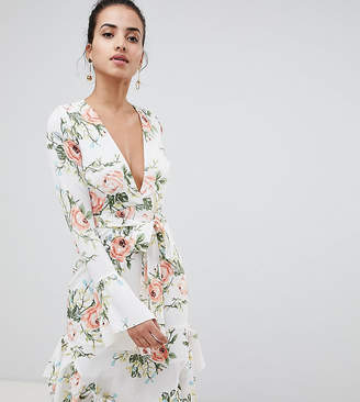 PrettyLittleThing exclusive floral wrap dress