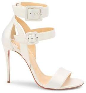 Christian Louboutin Women's Multimiss 100 Leather Slingback Sandals - Snow - Size 36.5 (6.5)