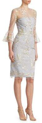 David Meister Women's Bell Sleeve Embroidered Cocktail Dress - Platinum Silver - Size 2