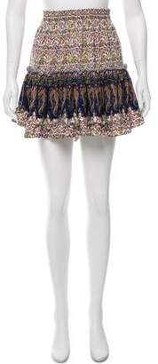 MISA Los Angeles Printed Ruffle Pheasant Skirt