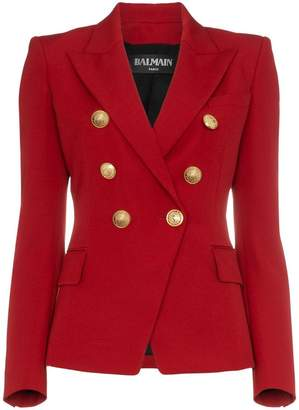 Balmain red double breasted virgin wool blazer