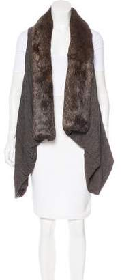 Rick Owens Lilies Fur-Trimmed Sleeveless Cardigan w/ Tags