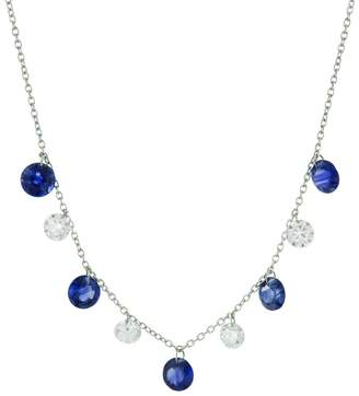 Aero Diamonds Blue Sapphire and Diamond Bib Necklace - White Gold