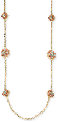 """Charter Club Gold-Tone Crystal & Stone Cluster Strand Necklace, 42"""" + 2"""" extender"""