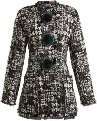 Dolce & Gabbana Pompom-embellished tweed jacket