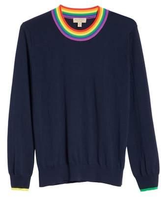 Burberry Dales Rainbow Trim Merino Wool Sweater
