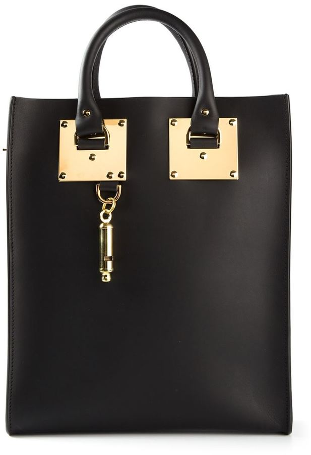 Sophie Hulme mini gold pleated detail tote