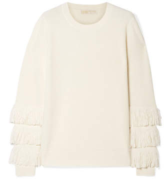 MICHAEL Michael Kors Fringed Ribbed-knit Sweater - Cream