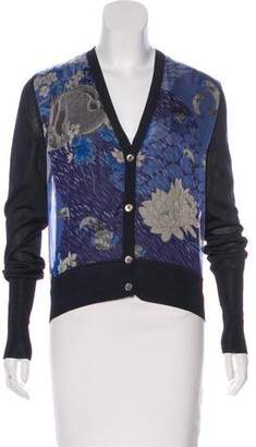Salvatore Ferragamo Silk-Paneled Printed Cardigan