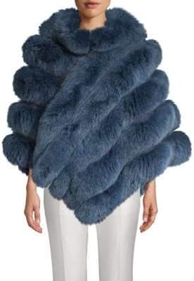 La Fiorentina Fox Fur Zip Poncho