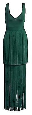Herve Leger Women's Deep-V Tiered Fringe Gown