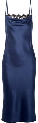 Fleur Du Mal Draped Lace-trimmed Silk-satin Midi Dress - Navy