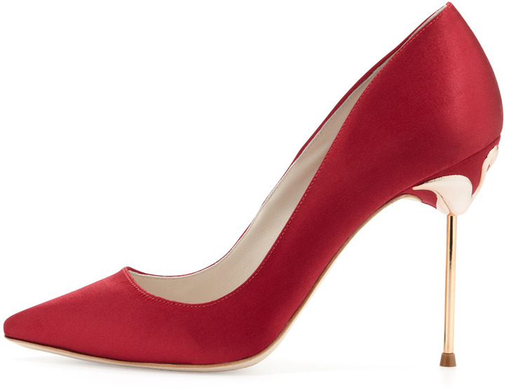 Webster Sophia Coco 5 Satin Point-Toe Pump, Ruby