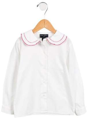 Oscar de la Renta Girls' Long Sleeve Button-Up Top