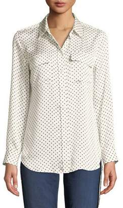 Equipment Slim Signature Silk Long-Sleeve Eclipse-Print Blouse