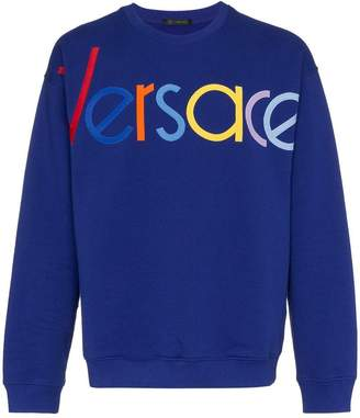 Versace blue logo embroidered jumper