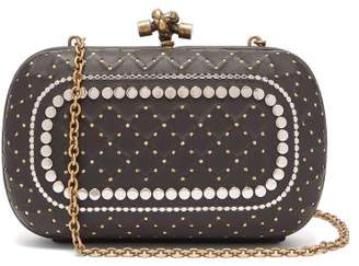 9031ad62753e Bottega Veneta Knot Studded Leather Clutch Bag - Womens - Black Silver