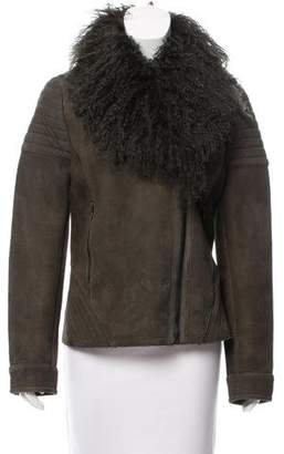 Zac Posen Mongolian-Trimmed Suede Jacket w/ Tags