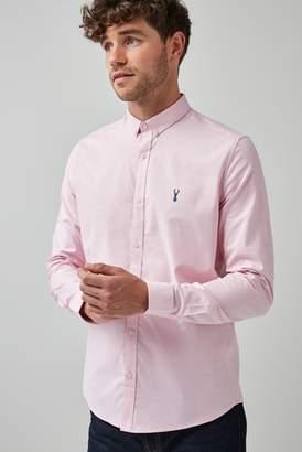 Next Mens Pink Slim Fit Long Sleeve Stretch Oxford Shirt