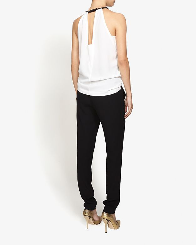 Yigal Azrouel Sleeveless Fringe Georgette Top