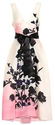 Monique Lhuillier Floral silk organza midi dress