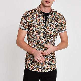 River Island Mens Black ditsy print short sleeve shirt