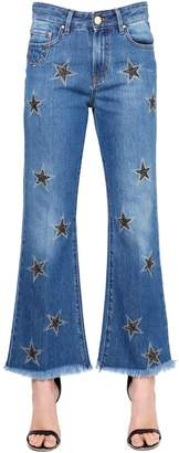 Don't Cry Stars Embroidered Flared Denim Jeans