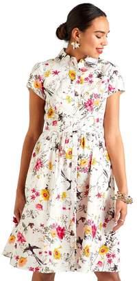 Yumi Womens Shirt Dress - White