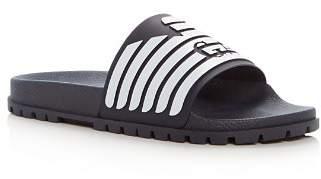 Giorgio Armani Men's Embossed Logo Slide Sandals