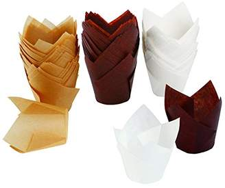 Resinta 150 Pieces Tulip Baking Paper Cups Cupcake Muffin Liners Wrappers