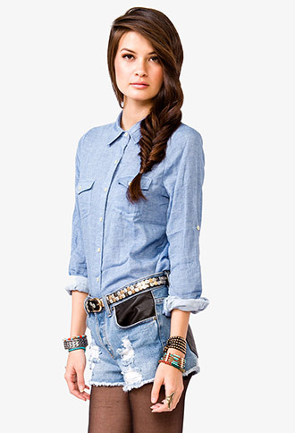 Forever 21 Button Pocket Chambray Shirt