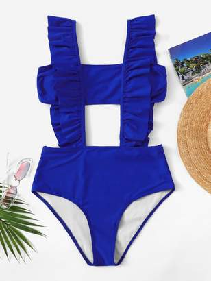 Shein Bandeau Top With Ruffle Suspender Two Piece Swim