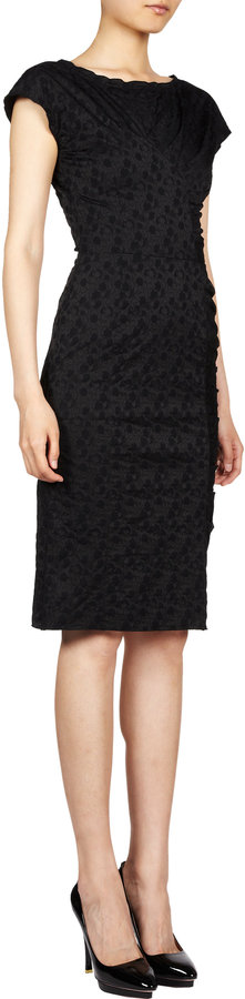 Nina Ricci Ruched Floral Jacquard Sheath Dress