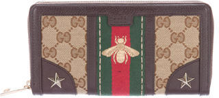 Gucci Gucci 2016 Web Embroidered Continental Wallet