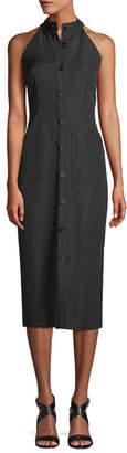 ADAM by Adam Lippes Sleeveless Halter Button-Front Gabardine Wool Midi Dress
