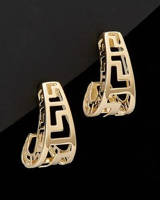 Italian Gold 14K Greek Key Hoops