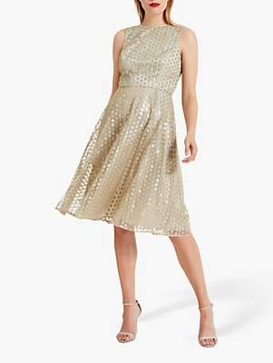Phase Eight Imani Sequin Embroidered Flower Dress, Gold