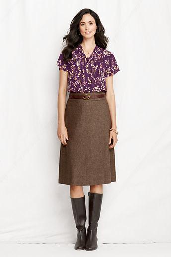 Lands' End Women's Regular Jacquard Wool A-line Skirt